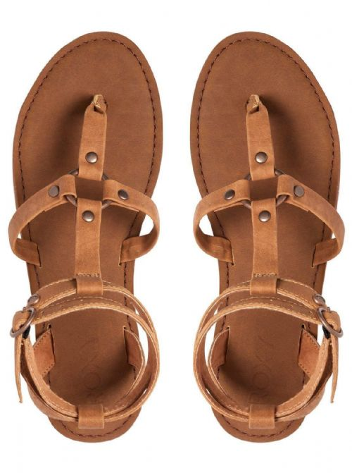 ROXY WOMENS SANDALS.SORIA BROWN GLADIATOR STRAPPY FAUX LEATHER SHOES 8S 622 LBR